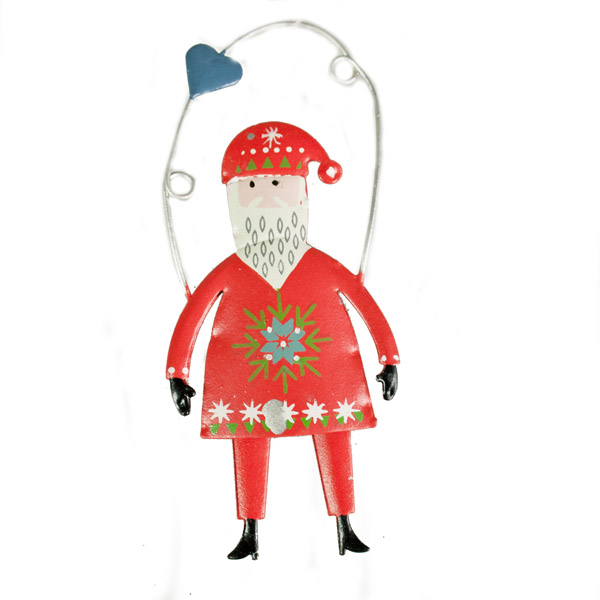 Gisela Graham Scandinavian Design Tin Santa Hanging Decoration With Blue Heart