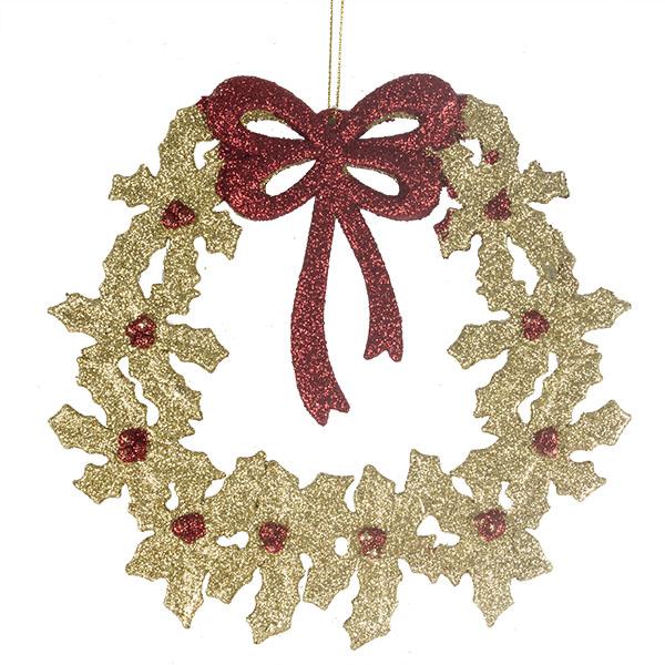 Gold Glitter Poinsettia Wreath Hanging Decoration - 18cm