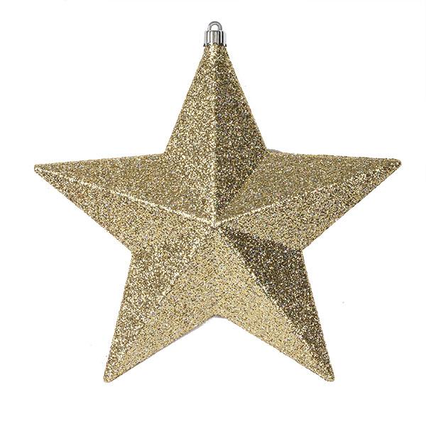 Gold Glitter 3D Star Decoration - 24cm