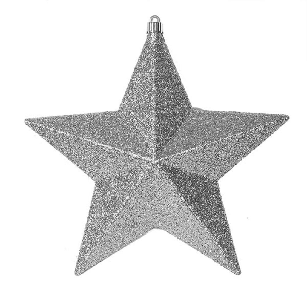 Silver Glitter 3D Star Decoration - 24cm