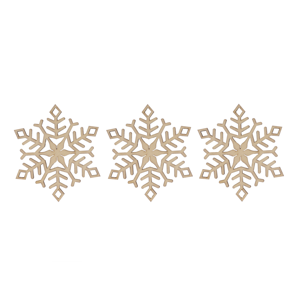 Wooden Six Pointed Snowflake Hanging Decoration - 9cm