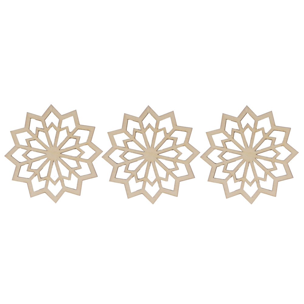 Wooden Twelve Pointed Snowflake Hanging Decoration - 9cm