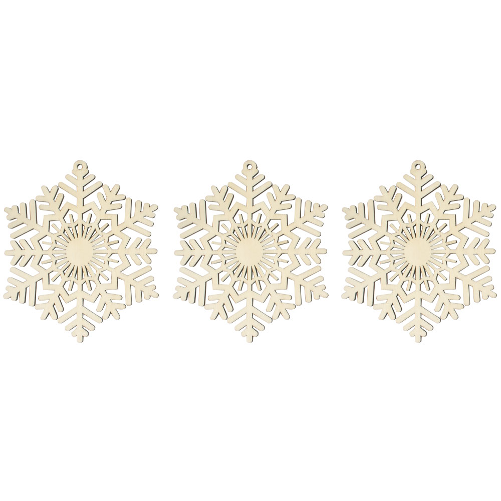 Wooden Traditional Snowflake Hanging Decoration - 9cm