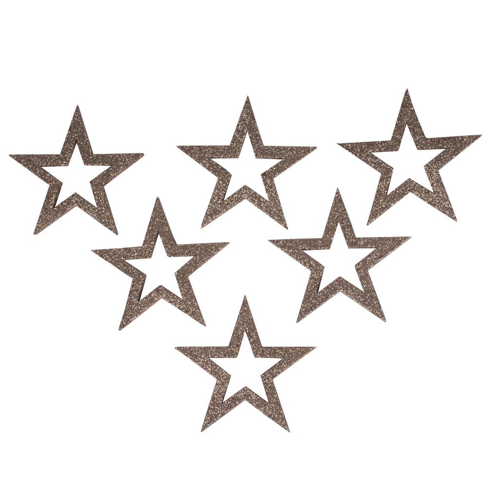 Pack Of 6 x Champagne Gold Glitter Open Star Hangers - 12cm