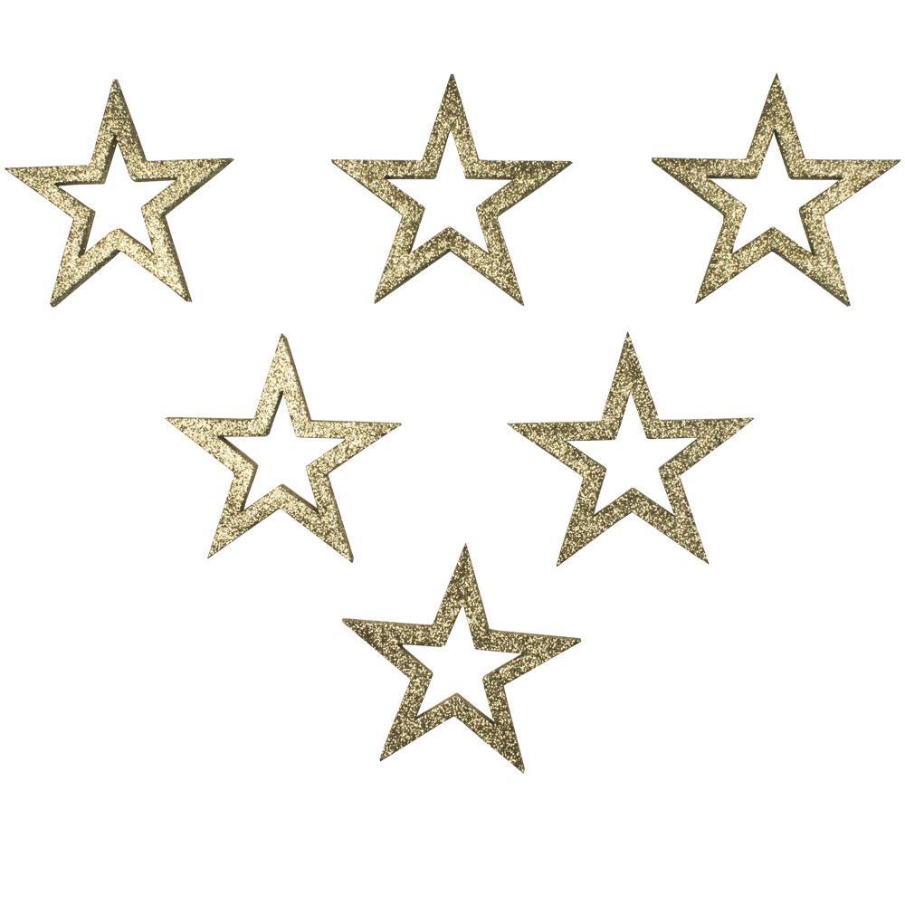 Pack Of 6 x Gold Glitter Open Star Hangers - 12cm
