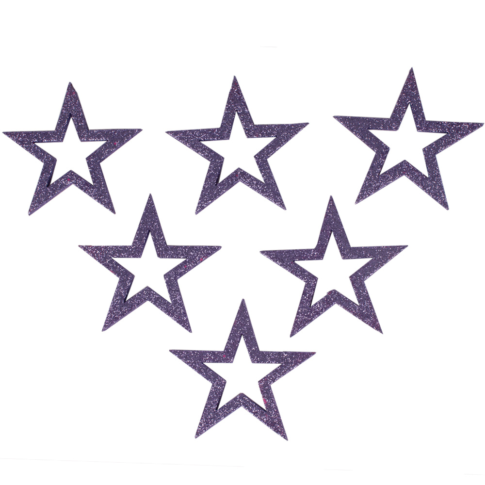 Pack Of 6 x Purple Haze Glitter Open Star Hangers - 12cm
