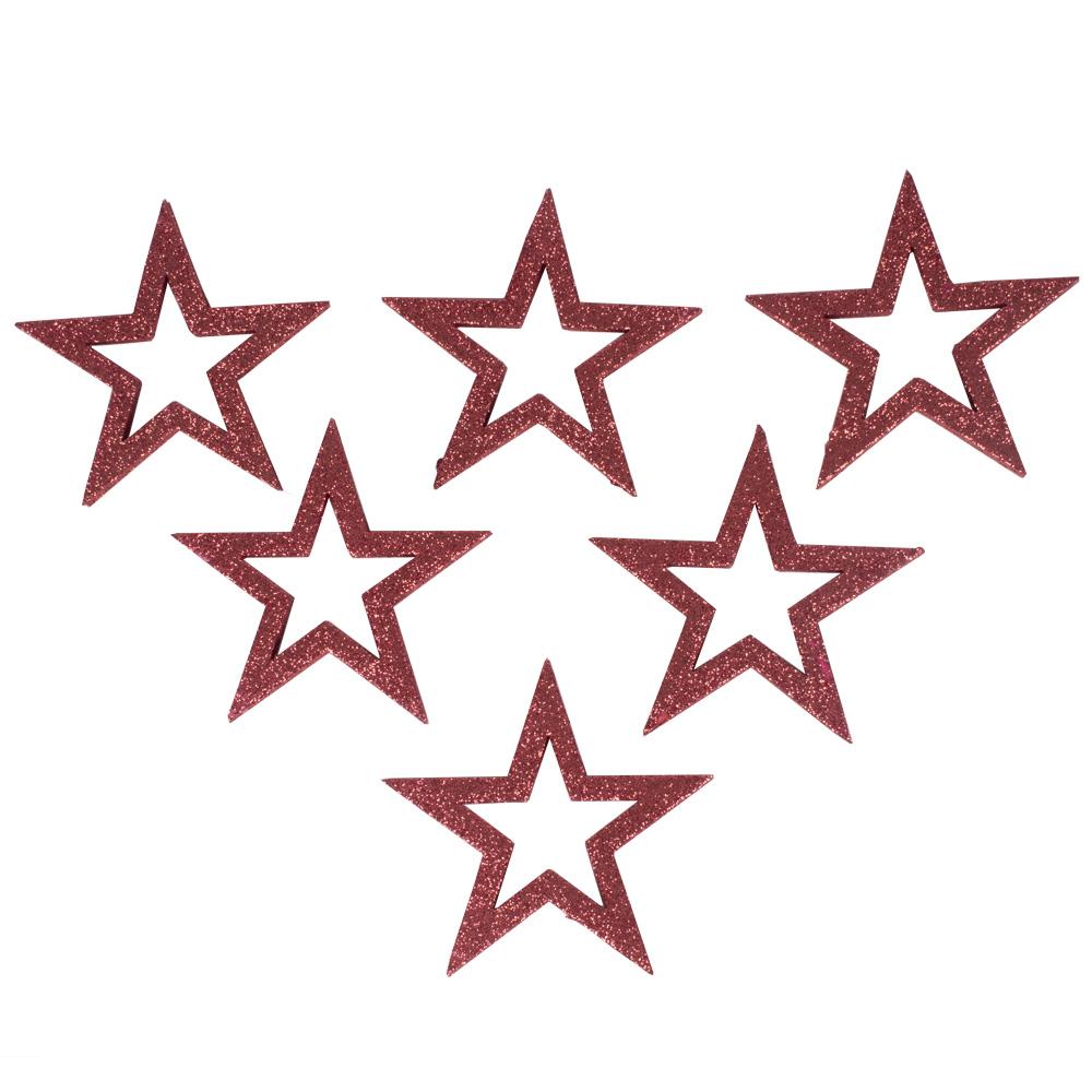 Pack Of 6 x Pink Glitter Open Star Hangers - 12cm