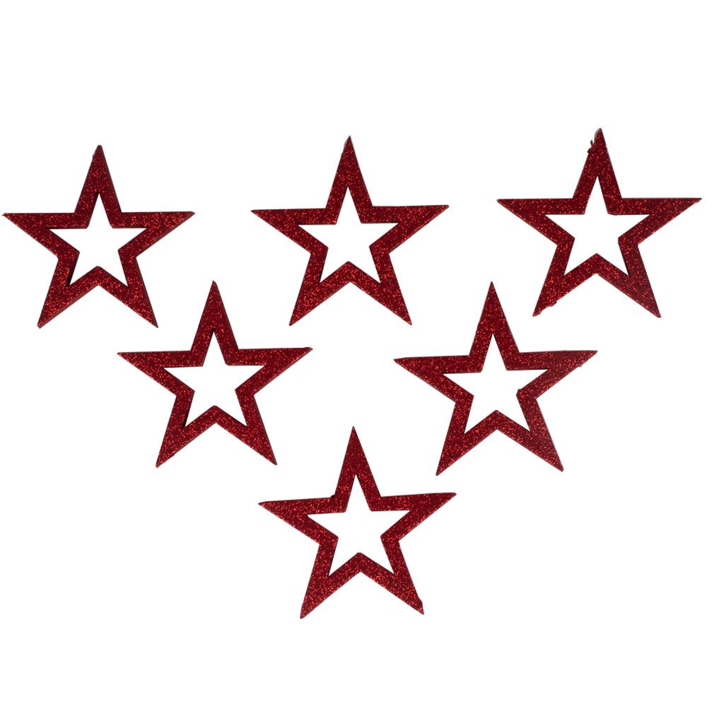 Pack Of 6 x Red Glitter Open Star Hangers - 12cm