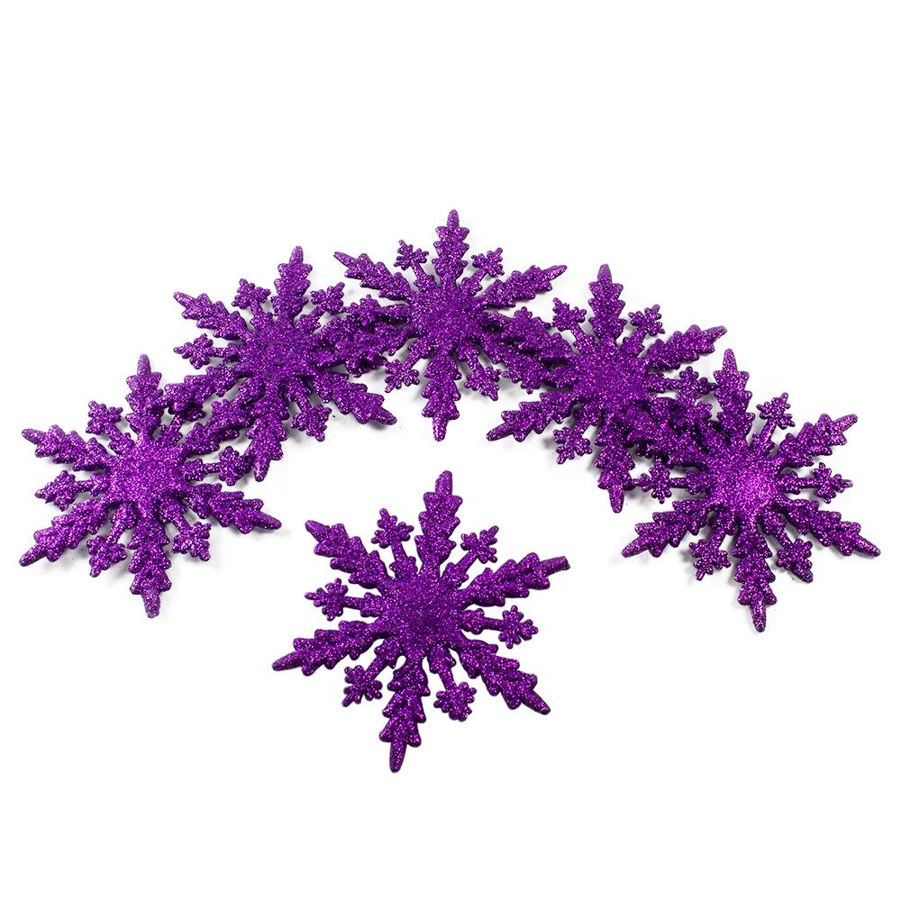Pack Of 6 Dark Purple Glitter Snowflake Hanging Decorations - 10cm