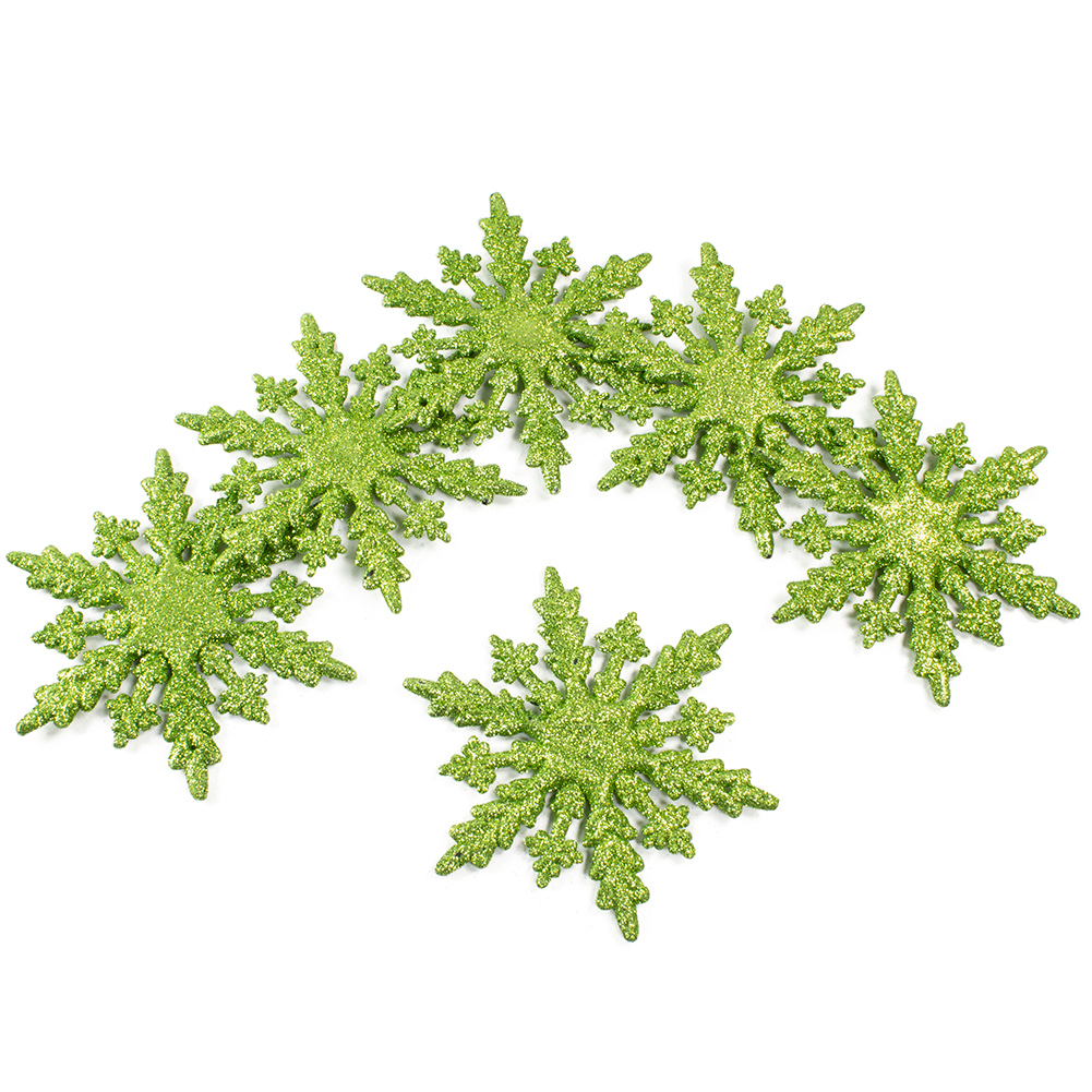 Pack Of 6 Green Glitter Snowflake Hanging Decorations - 10cm