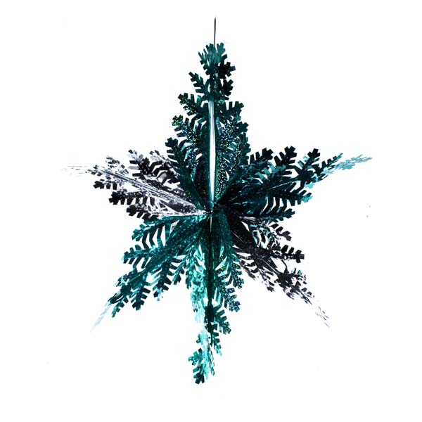 Turquoise Laser/Ice Blue/Silver Foil Hanging Snowflake Star - 40cm/16