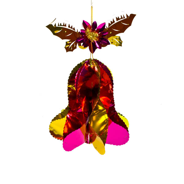 Gold/Cerise/Green Hanging Bell - 14