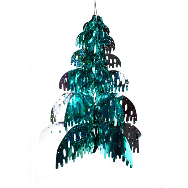 Tree Shaped Turquoise Laser/Ice Blue/Silver Foil Hanging Decoration - 15inches