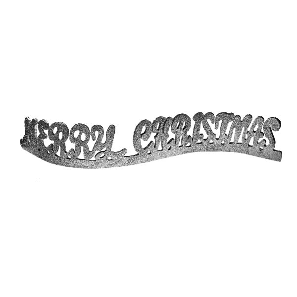 Silver Glitter Merry Christmas Ornament - 40cm