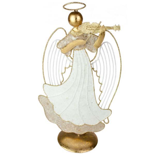 Capiz Musical Angel With Violin Ornament - 30cm