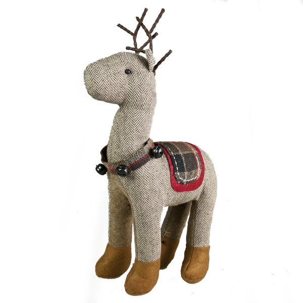 Gisela Graham Brown Tweed Fabric Reindeer Ornament - 40cm