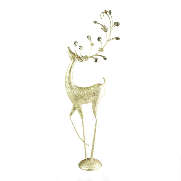 Gisela Graham Metal Gold Glitter Standing Reindeer Ornament With