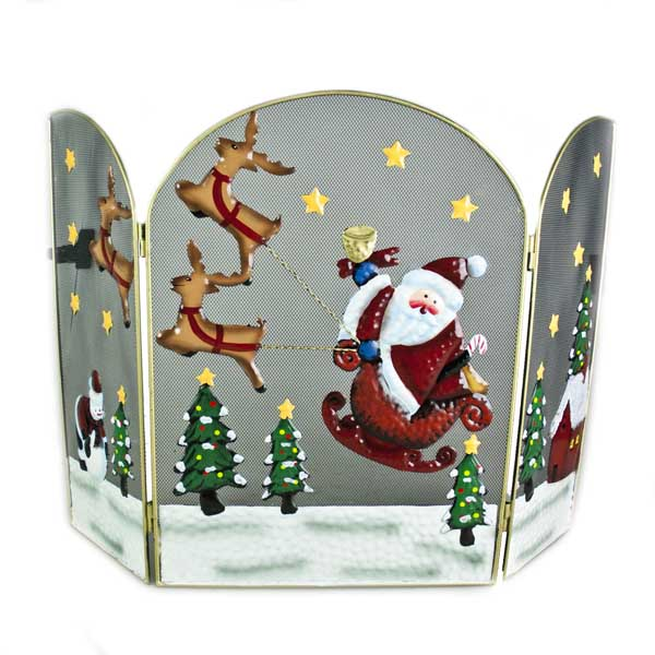 Santa & Reindeer Christmas Scene Fire Guard