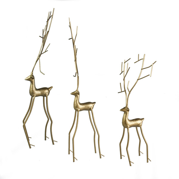 Set Of 3 Contemporary Gold Metal Reindeer Ornaments  Christmas