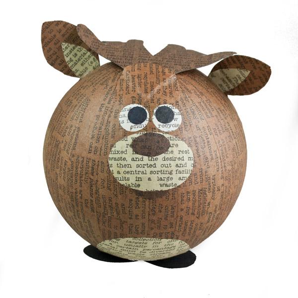 Brown Recycled Paper Reindeer Ornament - 11cm