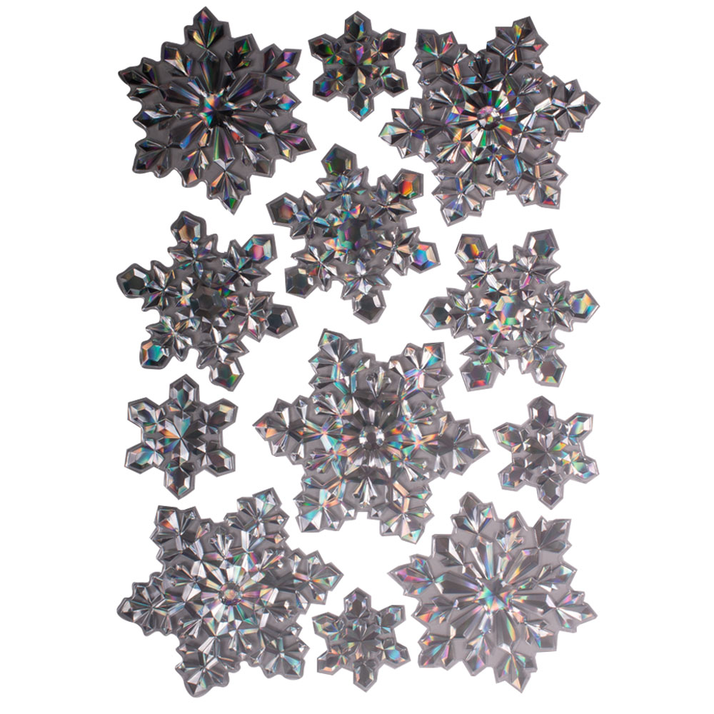 Pack Of 12 Holographic Silver Snowflake Stickers - Design 2
