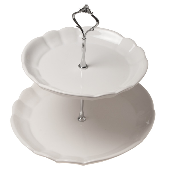 2 Tier White Cake Stand