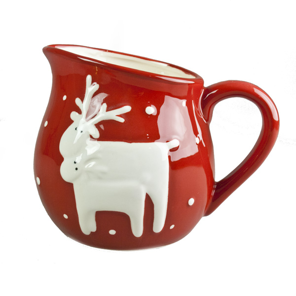 Gisela Graham Red Ceramic Jug With White Reindeer Design