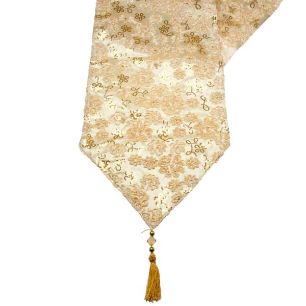 comes  there runner and a beads to where point runner tassels table gold Fabric table christmas are