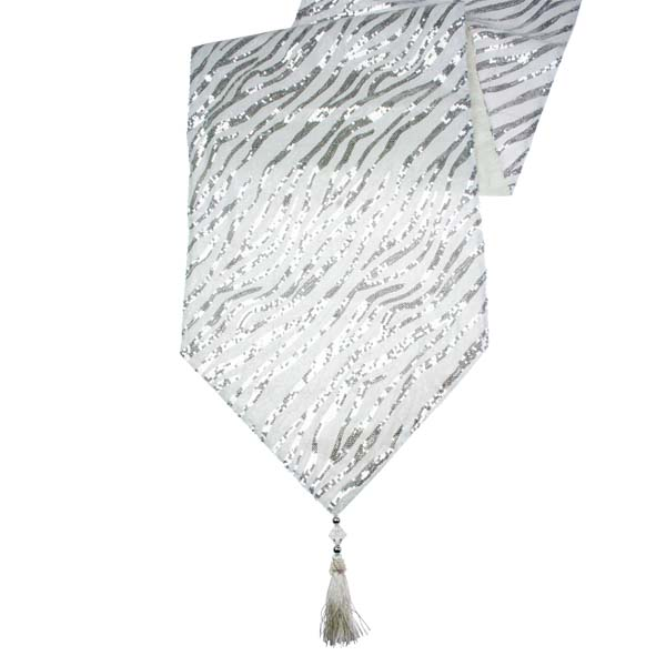 Silver U0026 White Opulent Table Runner With Tassels   30cm X 182cm