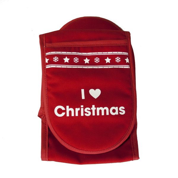 Santa Balls Red & White Double Oven Mitt - I