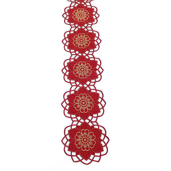 Peggy Wilkins Burgundy & Gold Cherish Design Christmas Table Runner - 20cm X 160cm (8 X 63 Inches)
