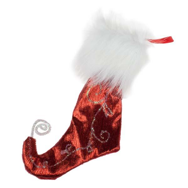 Red & White Fabric & Glitter Stocking - 12cm x 20cm