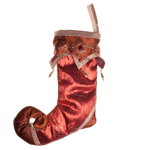 Red & Bronze Fabric Stocking - 30cm X 46cm