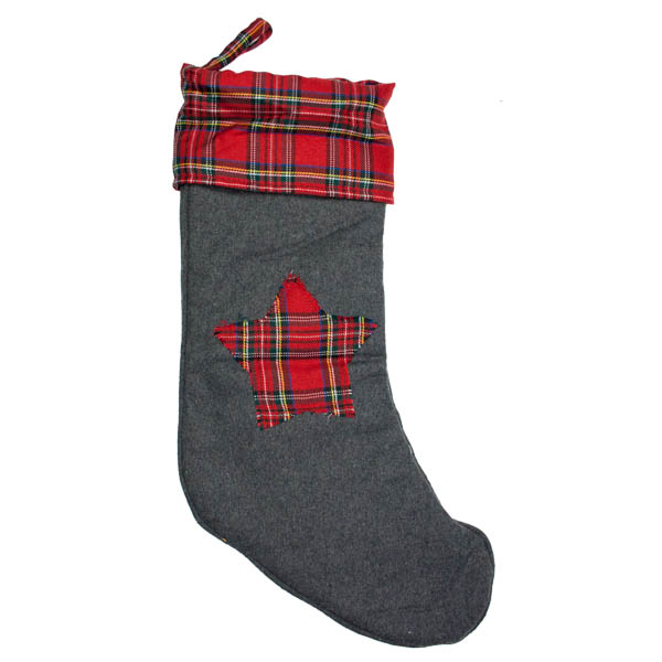 Grey With Red Tartan Star Stocking - 48cm x 25cm