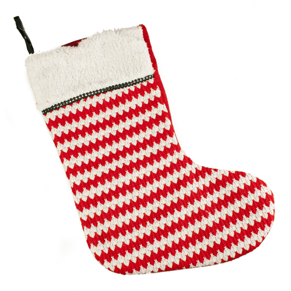 Red & White Stripes Fabric Stocking - 50cm x 29cm