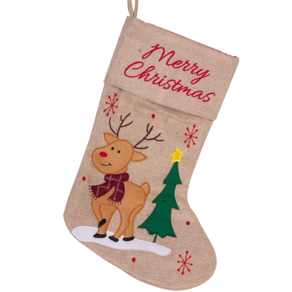 Cute Reindeer Character Christmas Stocking - 41cm