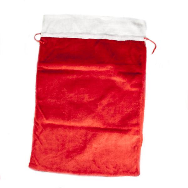Red Plush Santa Sack With White Trim - 90cm