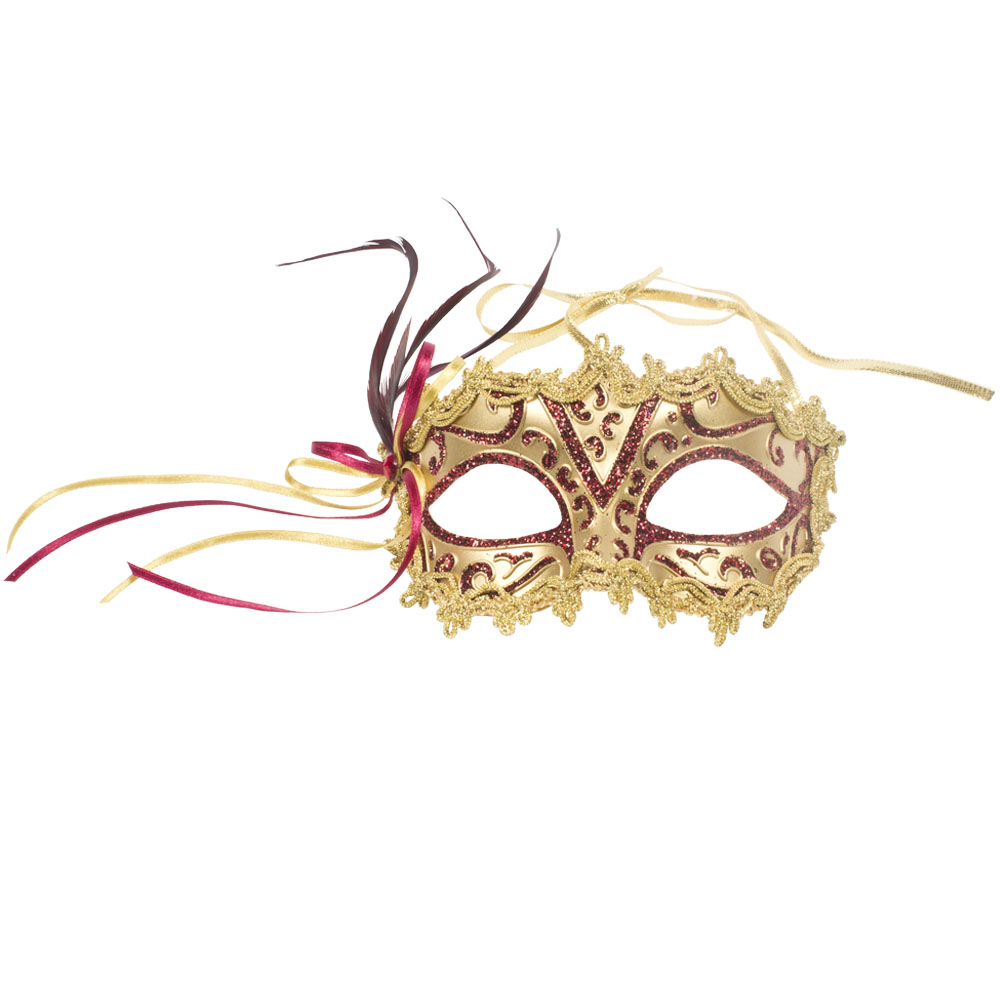 Decorative Burgundy & Gold Opera Mask - 15cm x 8cm
