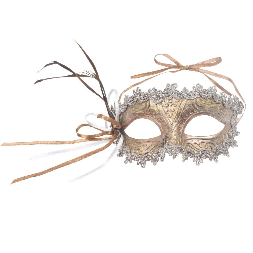 Decorative Copper & Pewter Opera Mask - 15cm x 8cm