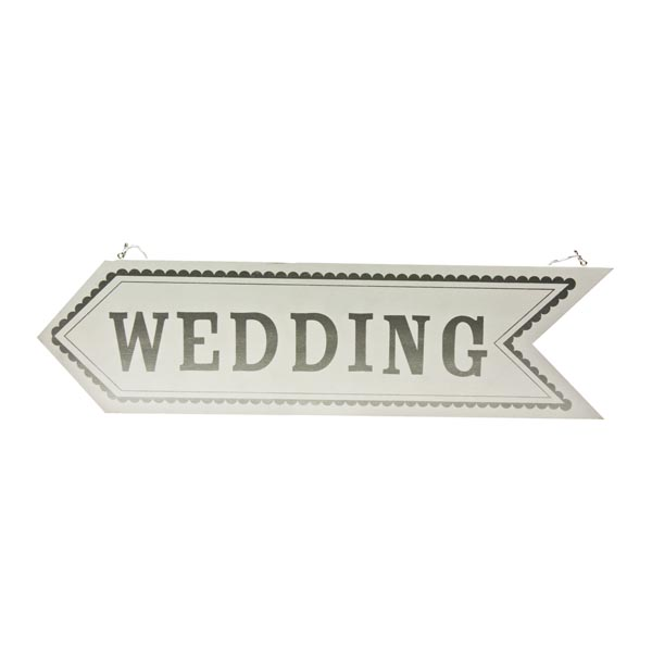 Gisela Graham White And Silver Wooden Wedding Arrow Sign