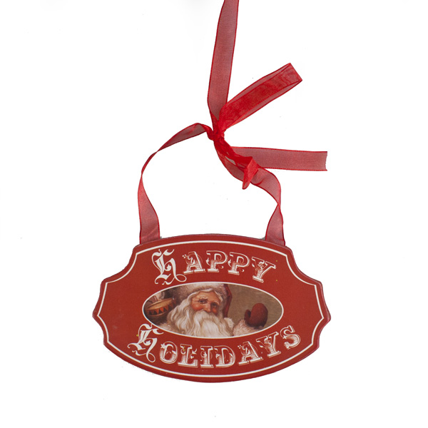 Red Happy Holidays Sign With Christmas Scene - 15cm