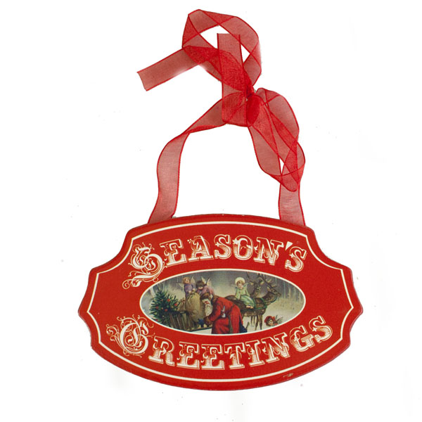 Red Seasons Greetings Sign With Christmas Scene - 15cm