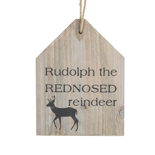 ''Rudolph The Red Nosed Reindeer'' Wooden Sign - 13cm X 17cm