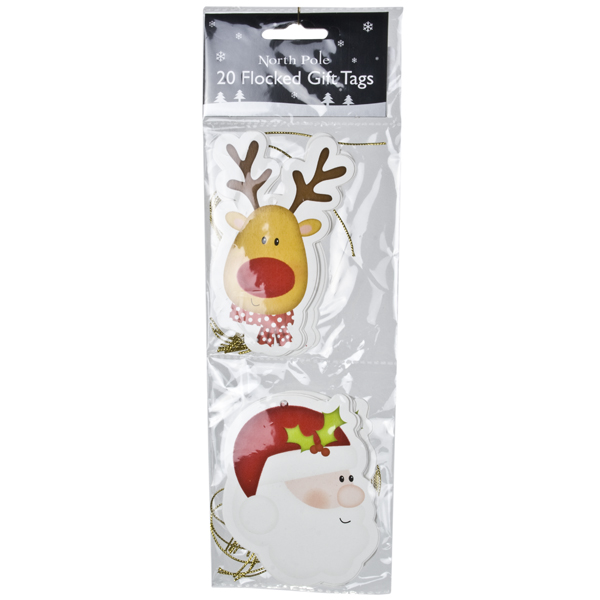 Pack Of 20 Assorted Flocked Gift Tags