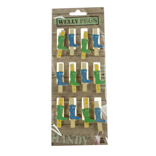 Talking Tables Pack Of 12 Mini Wooden Welly Pegs