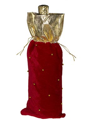 Gold And Red Fabric Bottle Bag