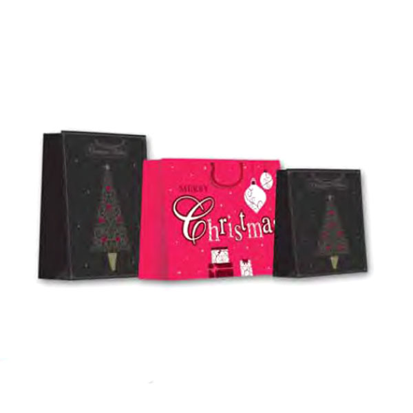 Red Christmas Gift Bag With A Merry Christmas Design - Medium