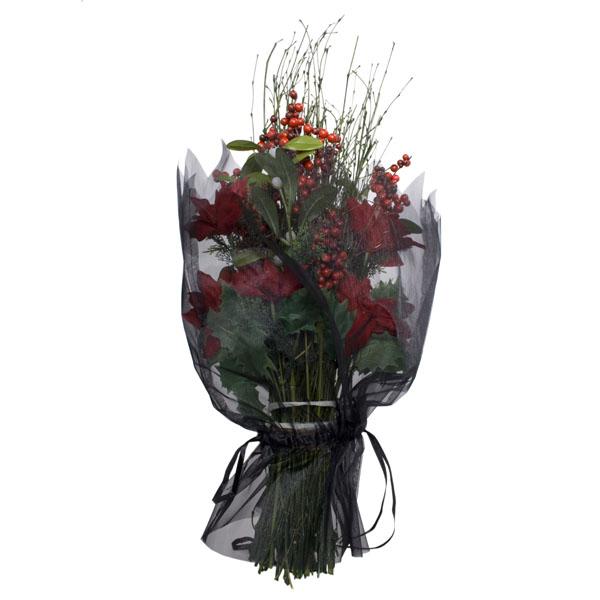 Voile Bouquet Wrap With Ribbon Tie - Black
