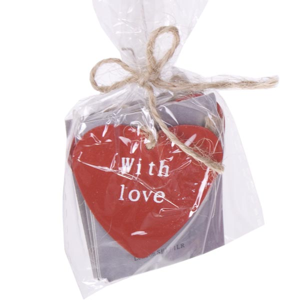 Gisela Graham Red Tin Heart Gift Tags - 4 Pack - 3.5cm