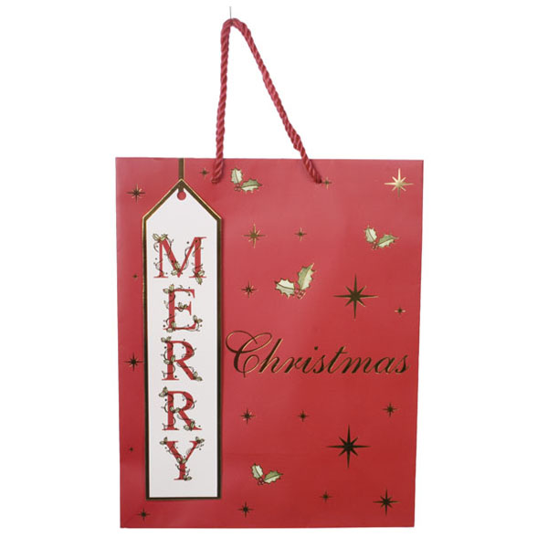 Merry Christmas Foil Finish Medium Gift Bag